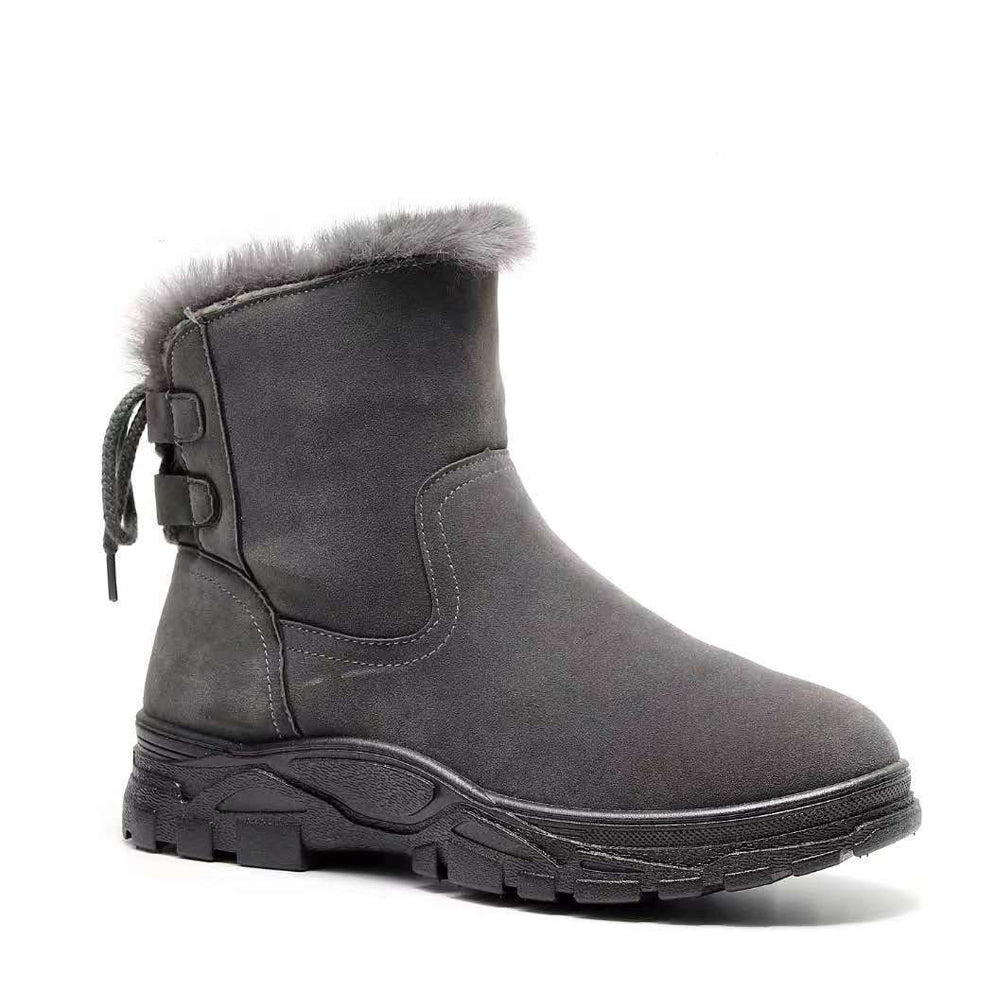 Fleece Lined Luxury Grey Suede Ankle Winter Boots