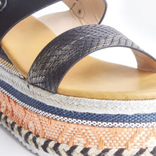 Load image into Gallery viewer, Romy Black Aztec Wedge Sandals