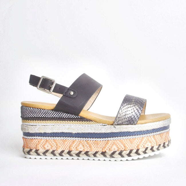Romy Black Aztec Wedge Sandals