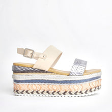 Load image into Gallery viewer, Romy Nude Aztec Wedge Sandals