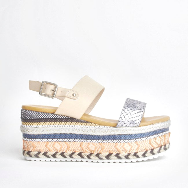 Romy Nude Aztec Wedge Sandals