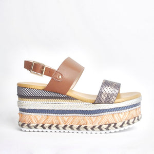 Romy Tan Aztec Wedge Sandals