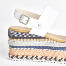 Load image into Gallery viewer, Romy White Aztec Wedge Sandals