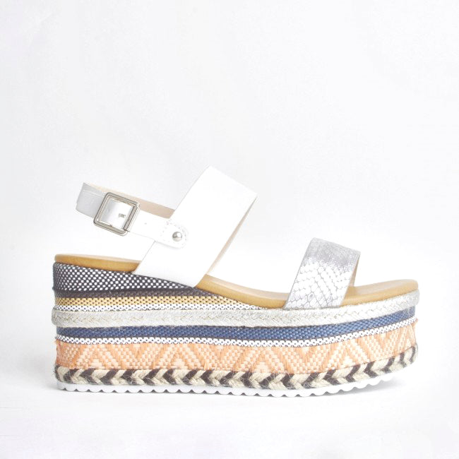 Romy White Aztec Wedge Sandals