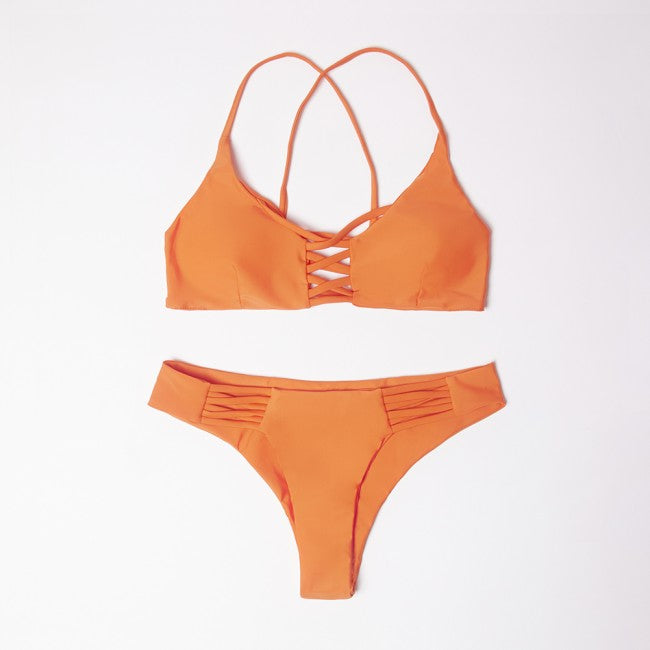 Neva Orange Cross Bikini Set