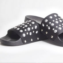 Load image into Gallery viewer, Stella Black Studded Sliders