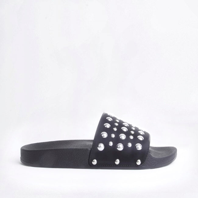 Stella Black Studded Sliders