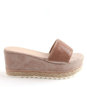 Gaby Flatform Wedge Mule In Blush