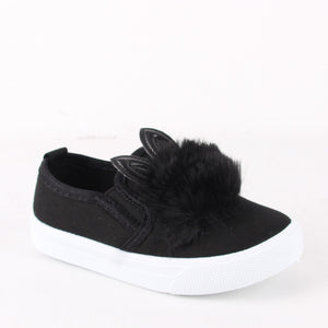 Kids Infants Pom Pom Black Skater Pumps