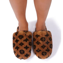 Load image into Gallery viewer, Fluffy Printed Detail Flat Slipper In Tan Brown Faux Fur