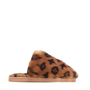 Fluffy Printed Detail Flat Slipper In Tan Brown Faux Fur