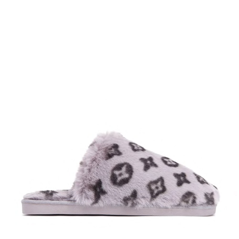 Fluffy Printed Detail Flat Slipper In Grey Faux Fur