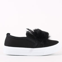 Load image into Gallery viewer, Kids Infants Pom Pom Black Skater Pumps