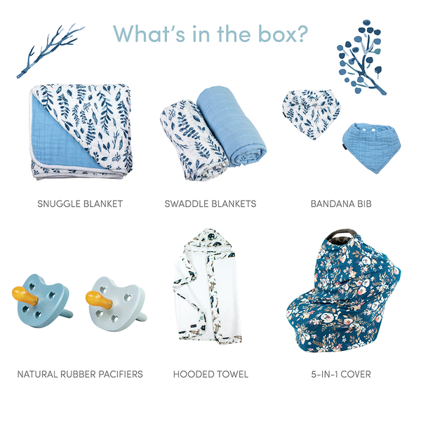 Blue Leaves Baby Box - Wishes