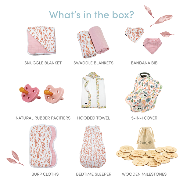 Pink Leaves Baby Box - Luxe