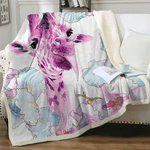 Purple & Pink Giraffe Throw Rug