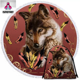 Royal Wolf Feather By Ismot Esha Round Towel