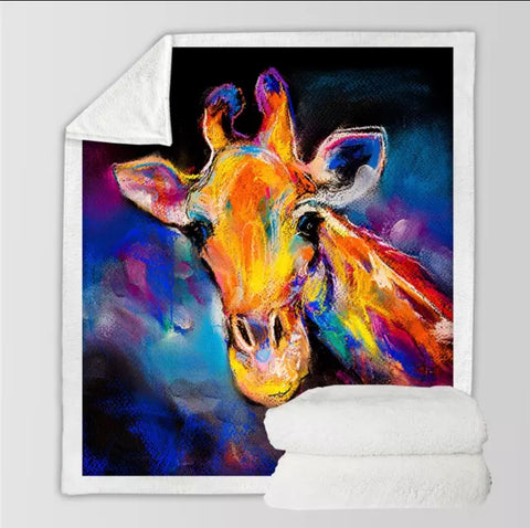 Acrylic Painting Giraffe Throw Rug