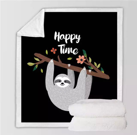 Happy Time Sloth Throw Rug