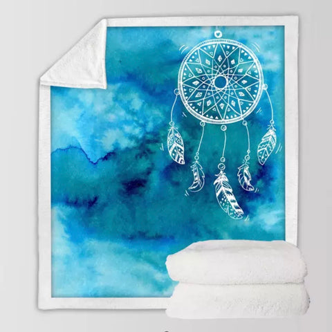 Blue Dreamcatcher Throw Rug