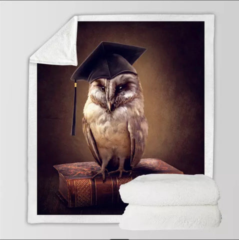 Graduating Wise Owl Throw Rug