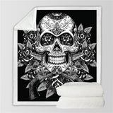 Black & White Vintage Skull & Roses Throw Rug