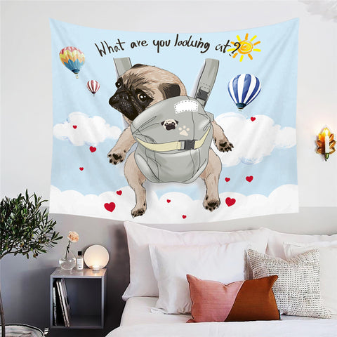 "Pug ""What Are You Looking At"" Wall Tapestry"
