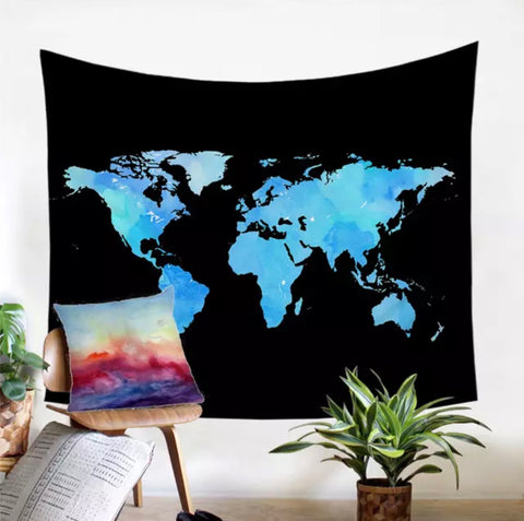Fluorescent World Map Wall Tapestry