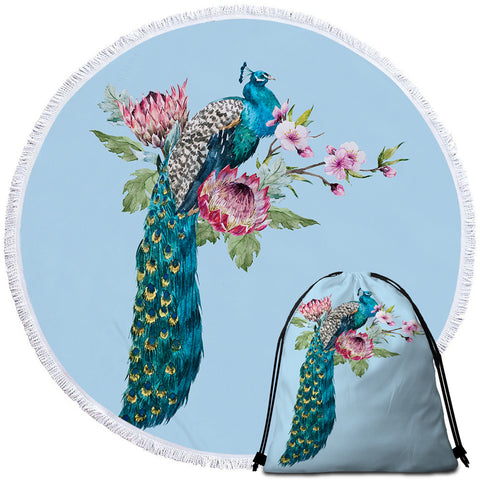 Peacock Floral Round Towel