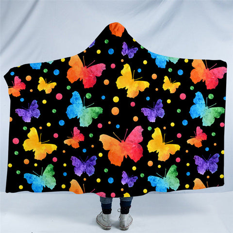 Neon Butterflies Hooded Blanket