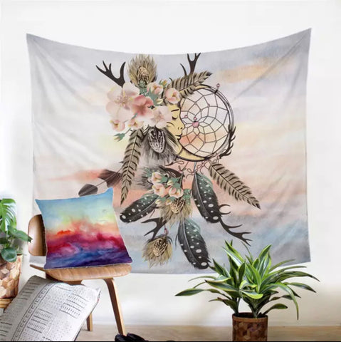 American Indian Moon Dreamcatcher Wall Tapestry