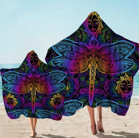 Bright Dragonflies & Suns Hooded Towel