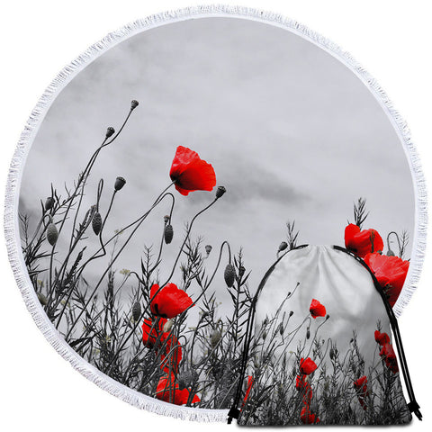 Red Poppies Round Towel