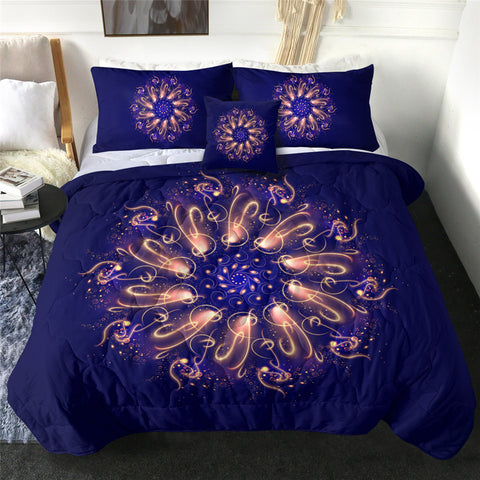Purple Swirl Mandala Comforter Set