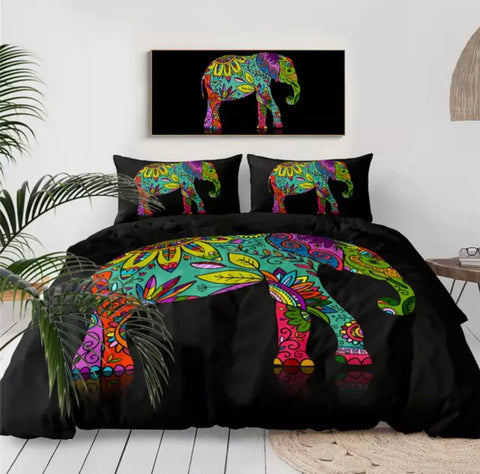 Hippie Boho Elephant Bedding Set