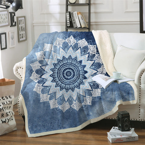 Cobalt Blue Mandala Throw Rug
