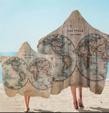 Vintage Map Hooded Towel