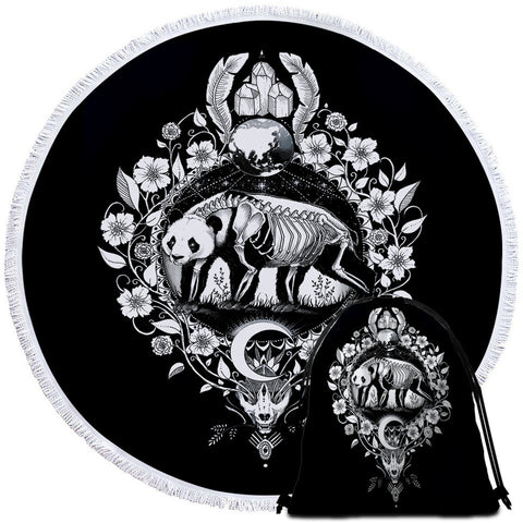Panda (Black) By Pixie Cold Art Round Towel