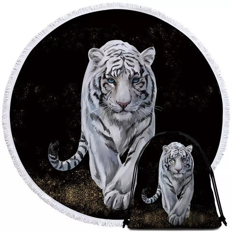 White Tiger Round Towel