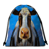 Acrylic Painting Cow (Blue) Round Towel