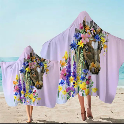 Horse Among Flowers Hooded Towel