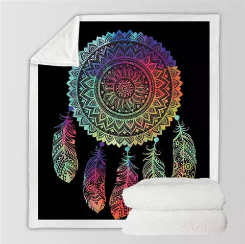 Rainbow Dreamcatcher Throw Rug