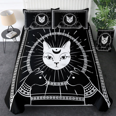 Black & White Pharaohs Cats Bedding Set