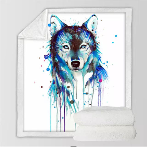 Wolf By Pixie Cold Art Throw Rug