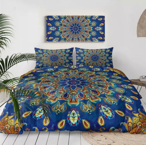 Paisley Mandala (Blue) Bedding Set