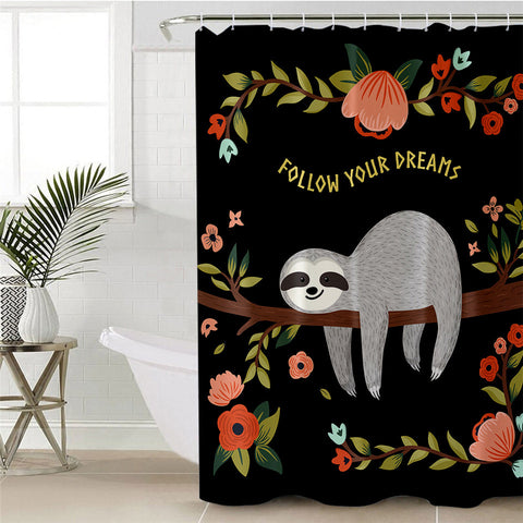 Follow Your Dreams Sloth Shower Curtain