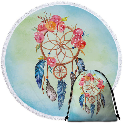 Orange & Pink Dreamcatcher Round Towel