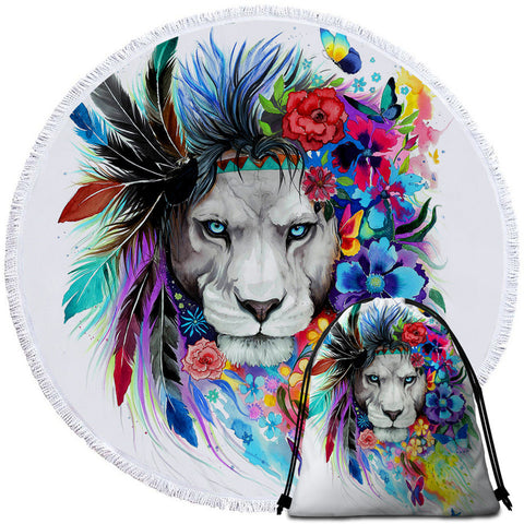 Lion By Pixie Cold Art Round Towel