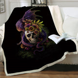Flowery Skull By SunimaArt Throw Rug