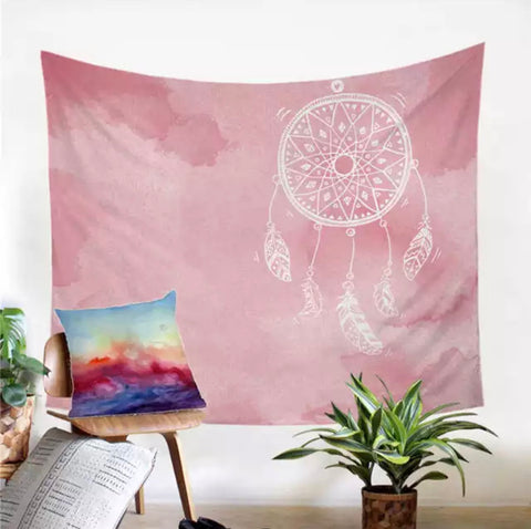 Pink Dreamcatcher Wall Tapestry